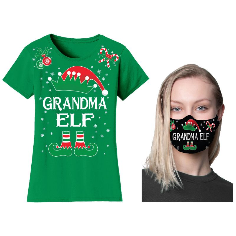 Women's Family Elf Christmas T-Shirt or Long Sleeve Shirt with Free Mask