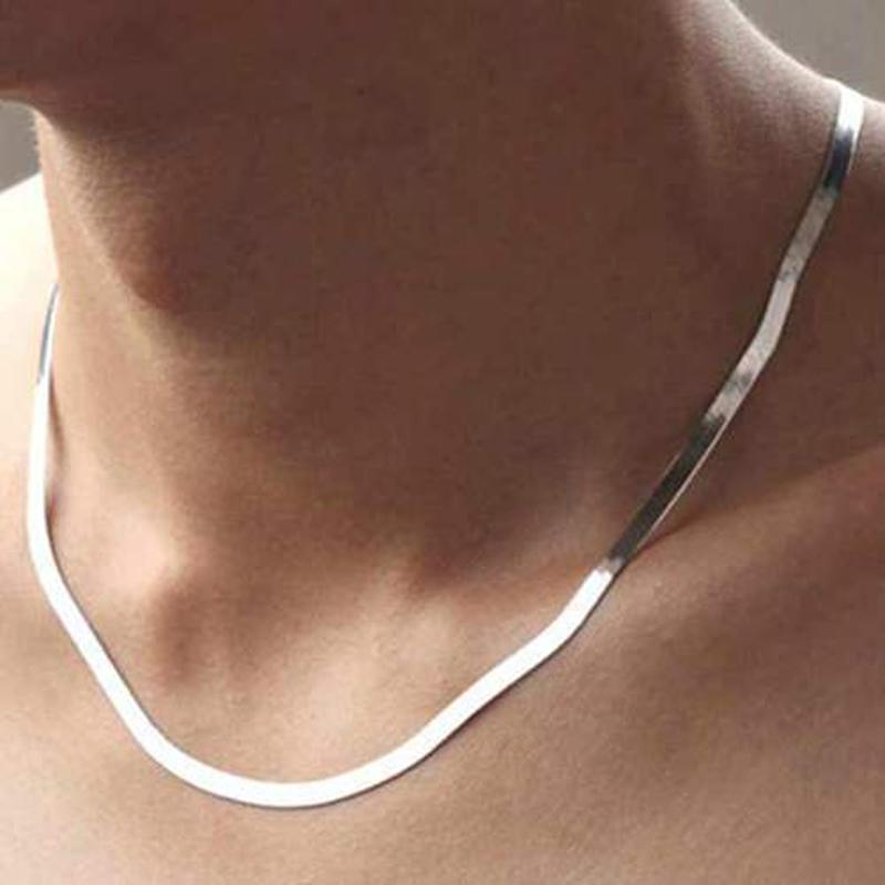 White Gold Plated 18K Herring Bone Chain Necklace-Daily Steals