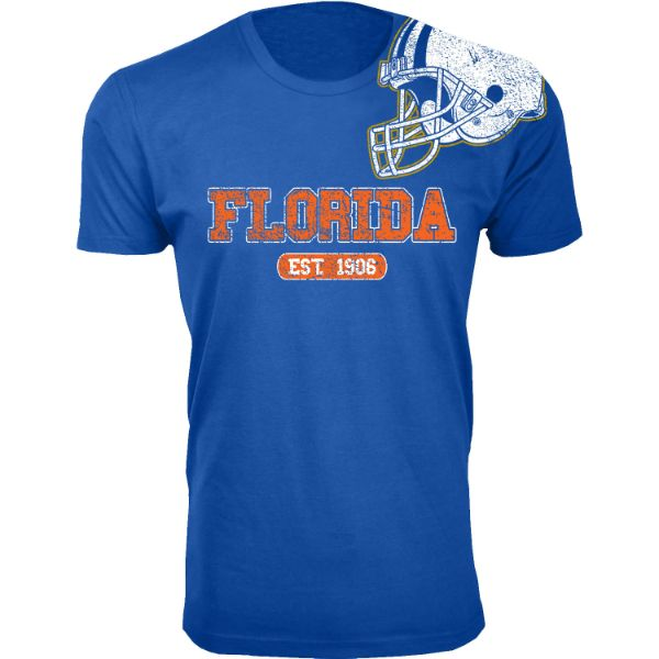 Men's Awesome College Football Helmet T-Shirts-S-Florida - Royal Blue-Daily Steals