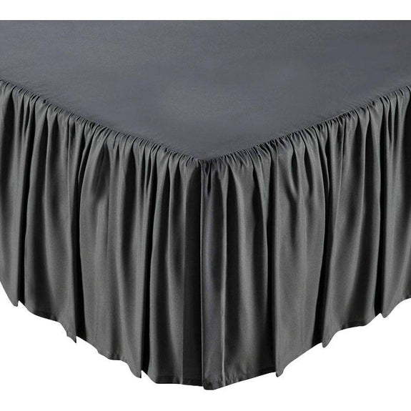 100% Ultra-Plush Microfiber Bed Skirt-Grey-Ruffle-Full-Daily Steals