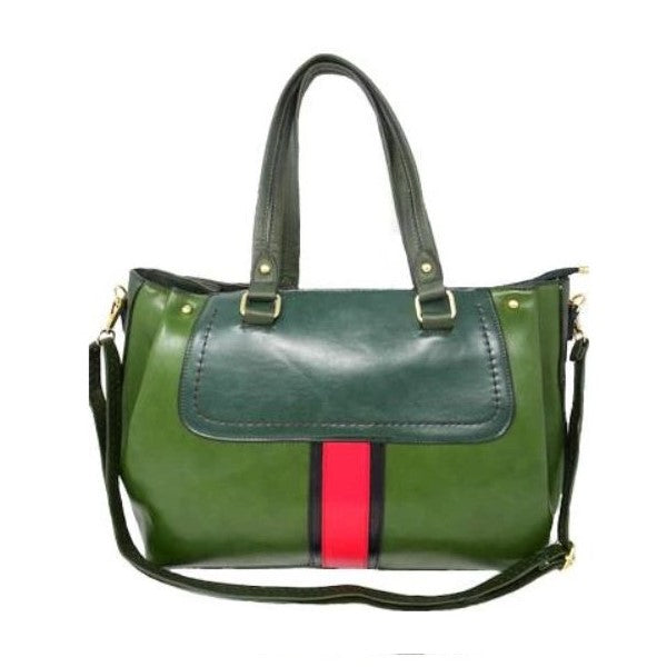 Vintage Striped Leather Tote Handbag-Green-Daily Steals