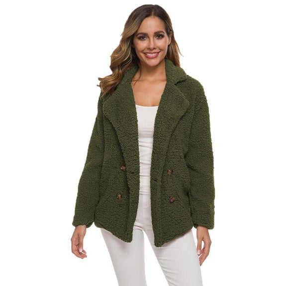 Soft Comfy Plush Pea Coat-Green-Small-Daily Steals