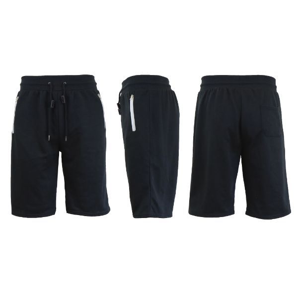Men's Marled or Solid French Terry Shorts with Zipper Pockets-Solid Black-Large-Daily Steals