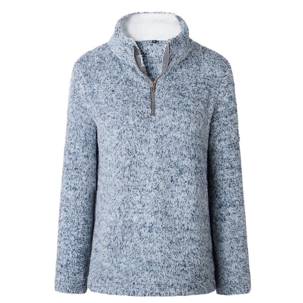 Zip Up Top Fleece Pullover-Blue-Large-Daily Steals