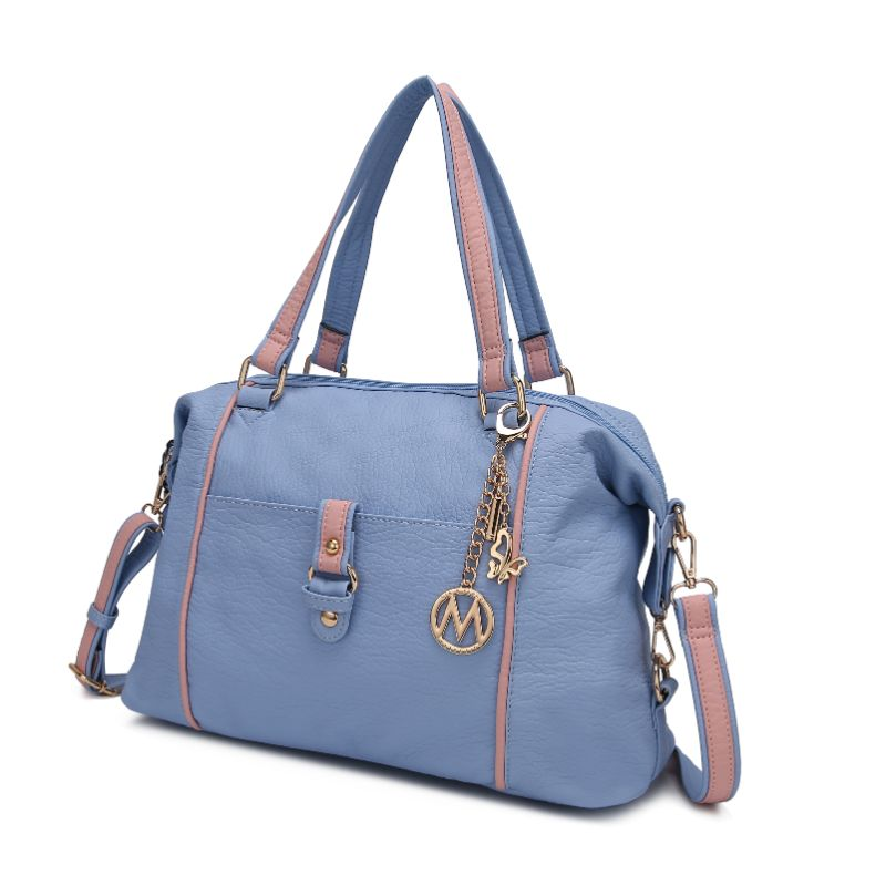 Opal Satchel Handbag by MKF-Light Blue-Pink-Daily Steals