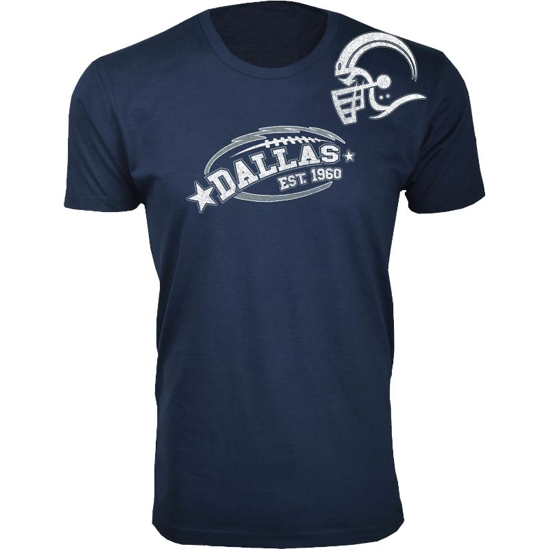 Men's All-Star Football T-Shirts-Dallas - Navy-S-Daily Steals