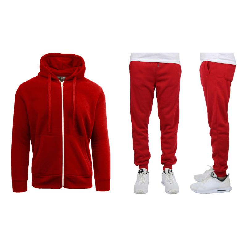 Men's Heavyweight Fleece Jogger and Heavyweight Fleece Hoodie Set-Red-3XL-Daily Steals