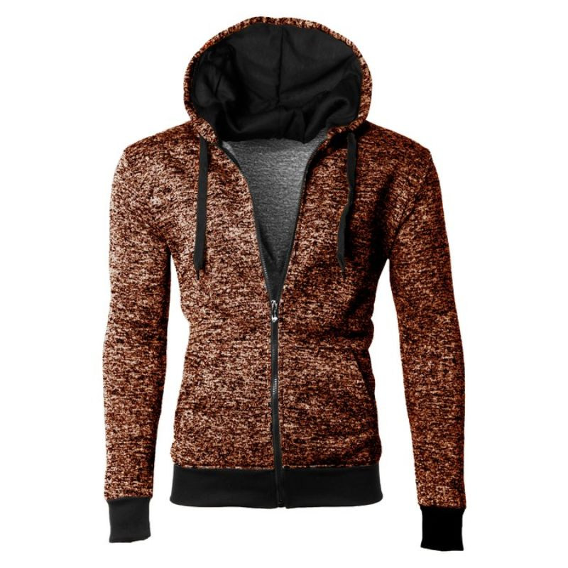 Men's Moisture Wicking Fleece-Lined Full-Zip Up Marled Hoodie-Brown-Small-Daily Steals
