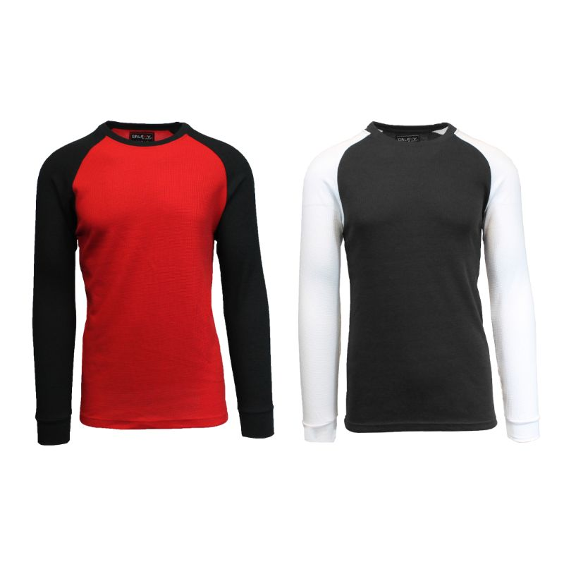Men's Raglan Thermal Shirt - 2 Pack-Red/Black & Black/White-Small-Daily Steals