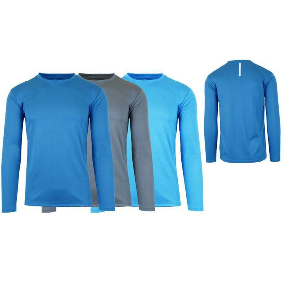 Men's Long Sleeve Moisture-Wicking Performance Crew Neck Tee - 3 Pack-Medium Blue & Charcoal & Light Blue-Small-Daily Steals