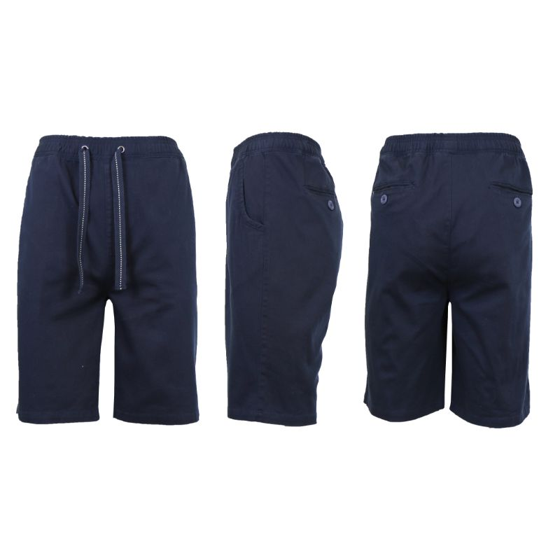 Men's Cotton Stretch Twill Jogger Shorts-Navy-L-Daily Steals