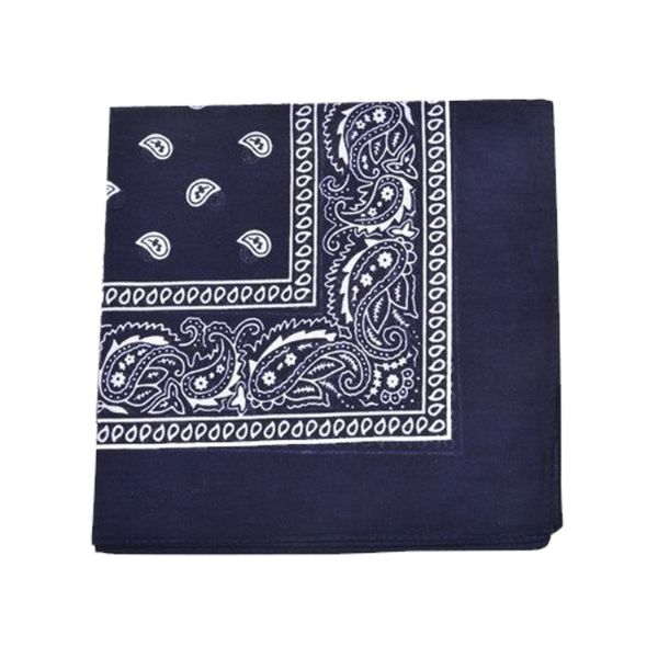 100% Cotton 18 Pack Bandana - 22 x 22-Paisley Navy Blue-Daily Steals