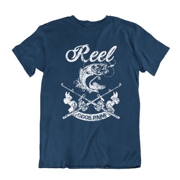 Reel Cool Papa' Funny Fishing T Shirt-Navy Blue-S-Daily Steals