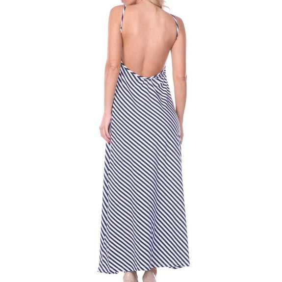 Backless Striped Maxi Dress-Navy-Small/Medium-Daily Steals