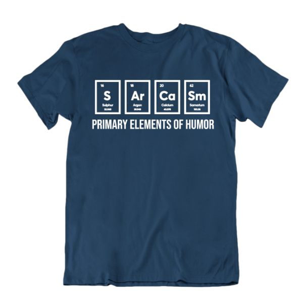 """Primary Elements of Humor"" Funny Science T-Shirt-Navy Blue-Small-Daily Steals"