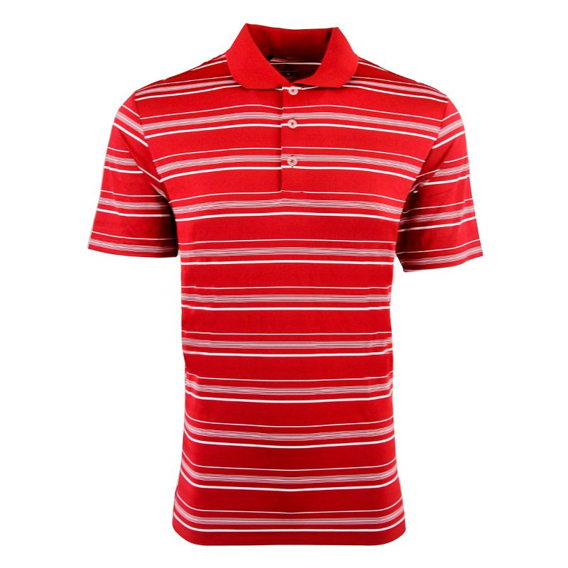 adidas Men's Puremotion Textured Stripe Polo-Power Red/White-S-Daily Steals