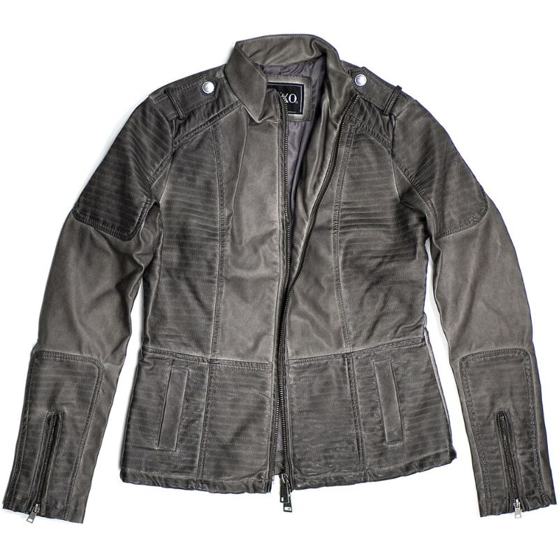 Women's Motorcycle Faux Leather Jacket Quilted Lining Zip Up-Gray-L-Daily Steals