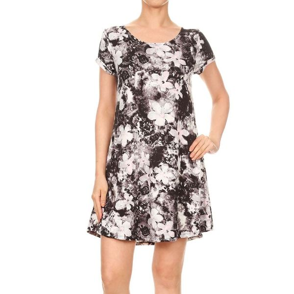 Women's Short Sleeve Summer Tunic Dress-Black & Pink Tie Dye Floral Print-Small-Daily Steals