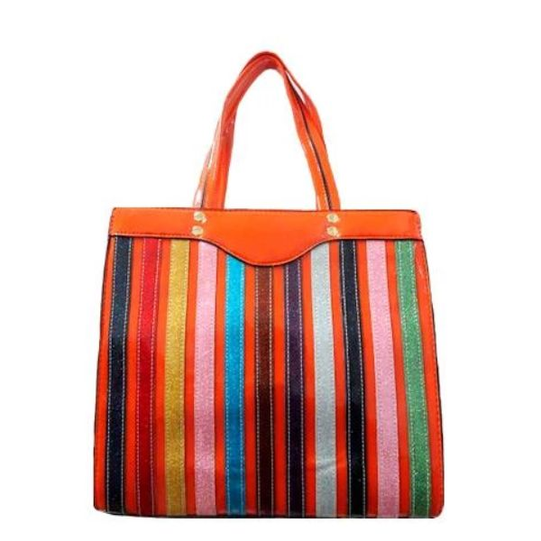Colorful Stripe Satchel Handbag-Orange-Daily Steals