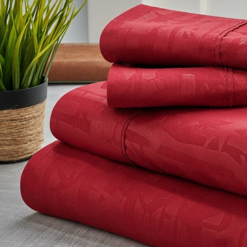 Bamboo 1800 Count Embossed Design 4-Piece Sheet Set-Burgundy-Twin-Daily Steals