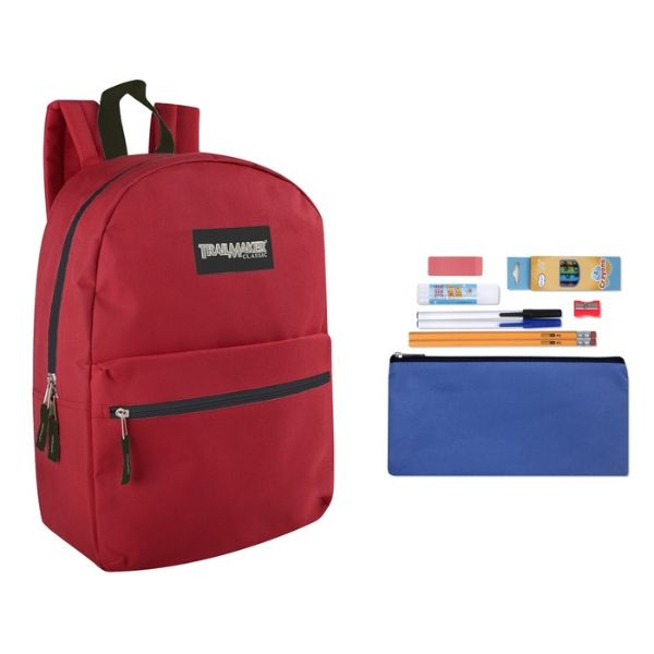 "Trailmaker Classic 17"" Backpack + 12 Piece School Supply Kit-Red-Daily Steals"