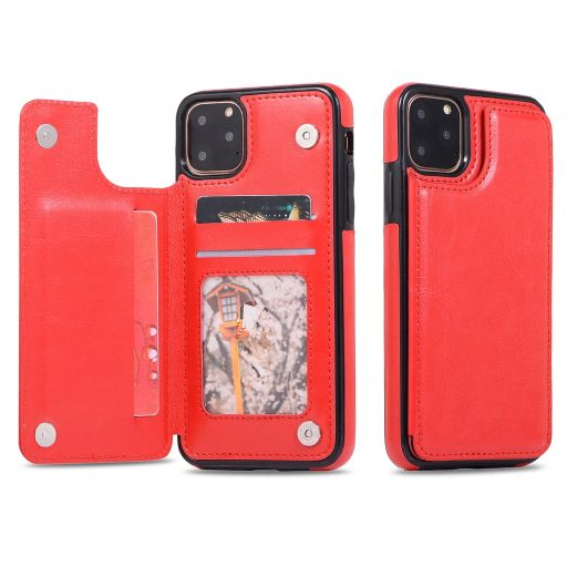 iPM Apple iPhone 11, Pro, Pro Max PU Leather Purse Protective Case-Red-iPhone 11-Daily Steals