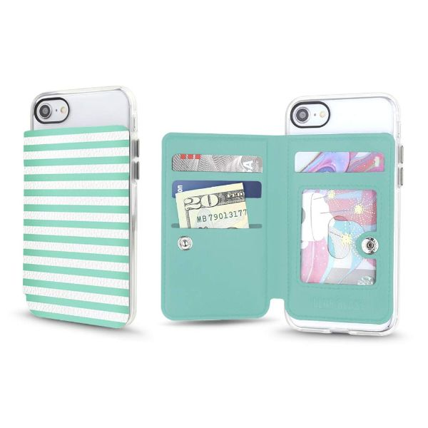 Gear Beast Universal Cell Phone Folio Wallet-Seafoam Stripes-Daily Steals