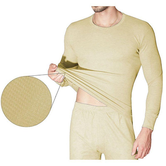 2-Piece Men's Super Soft 100% Cotton Waffle Knit Thermal Underwear Set-Tan-Small-Daily Steals
