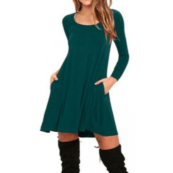 Stylish Full Sleeve Dress with Pockets - 4 Colors-Teal Green-Small-Daily Steals