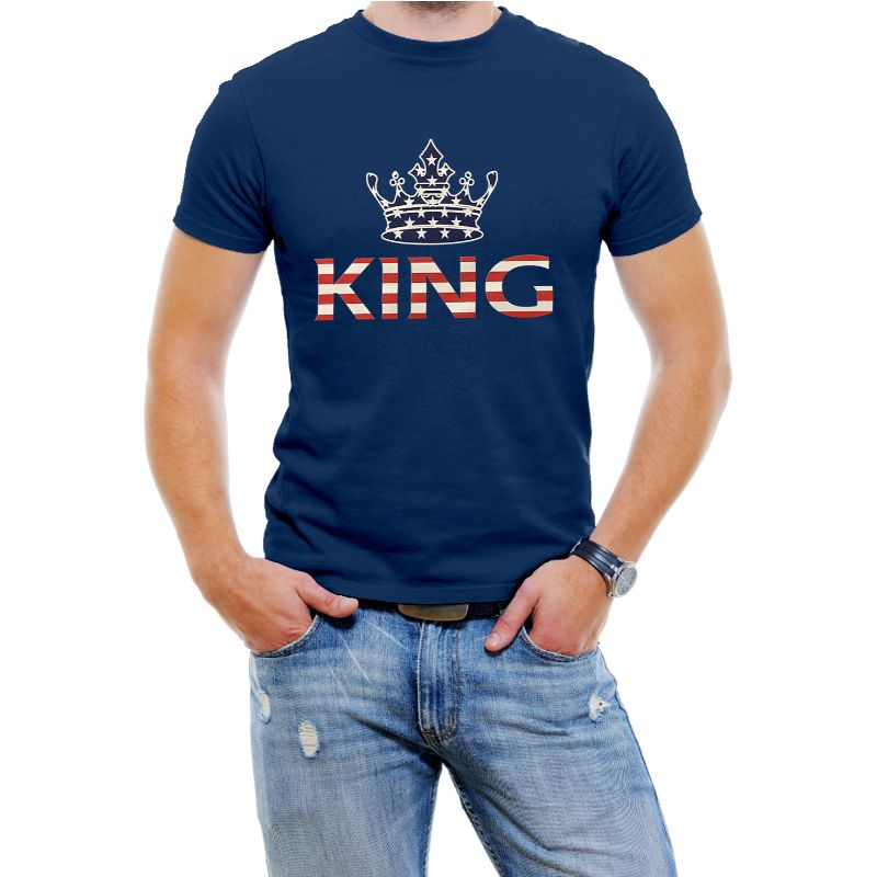 "USA Stars and Stripes ""King"" Men's T-Shirt-Navy Blue-4XL-Daily Steals"