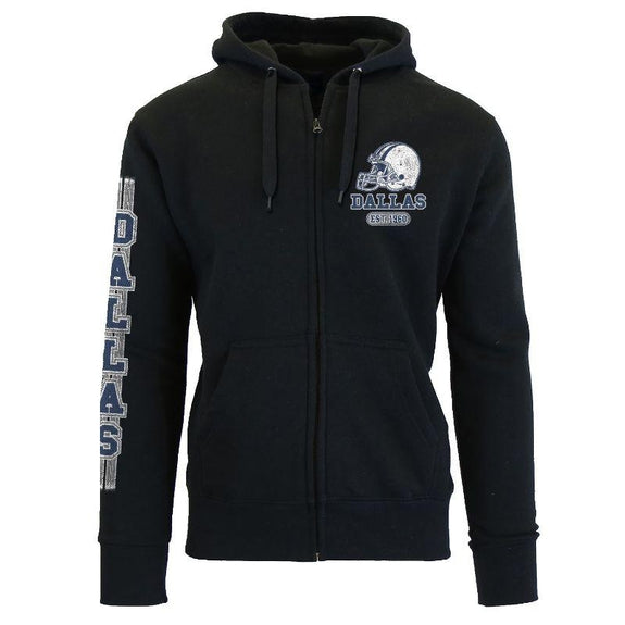Women's Game Day Football Zip Up Hoodie-Dallas - Black-S-Daily Steals