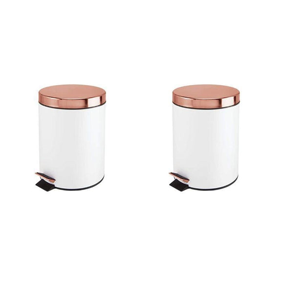 5 Liter White and Copper Office or Bathroom Step Trash Bin - 1 or 2 Pack-2 Pack-Daily Steals