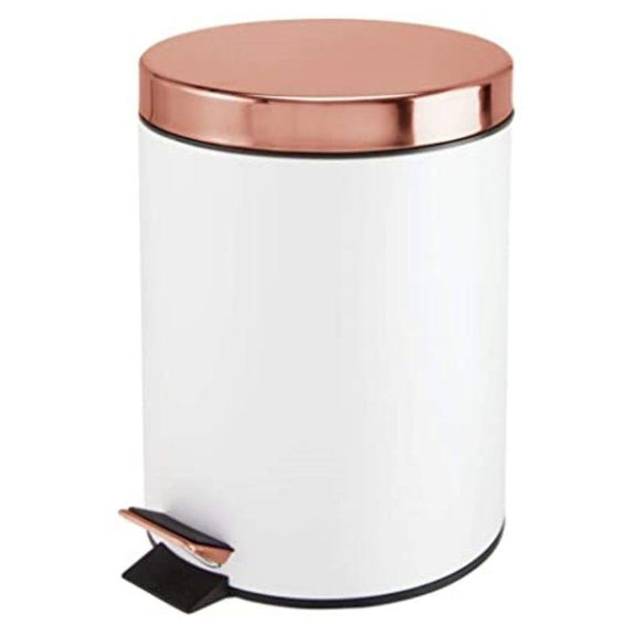 5 Liter White and Copper Office or Bathroom Step Trash Bin - 1 or 2 Pack-1 Pack-Daily Steals