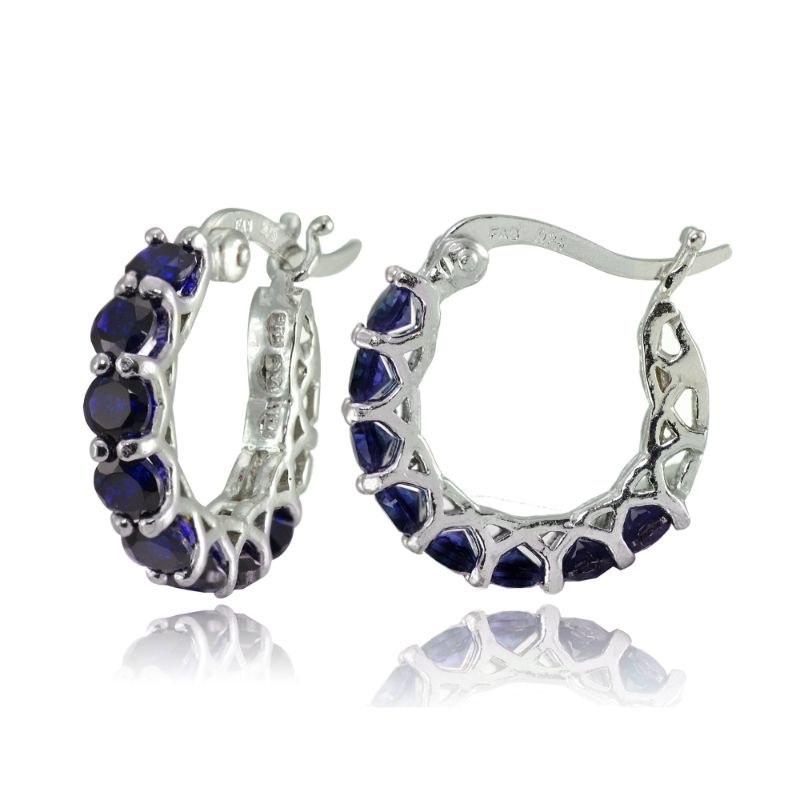 5.00 CTTW Princess Cut Blue Sapphire Hoops Plated in 18K White Gold-Daily Steals