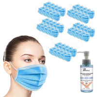 50-Pack Disposable Face Masks with 120ml Hand Sanitizer