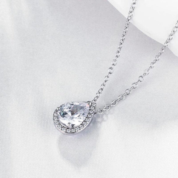 5.00 CT Teardrop Pave Necklace in 18K White Gold Plated-