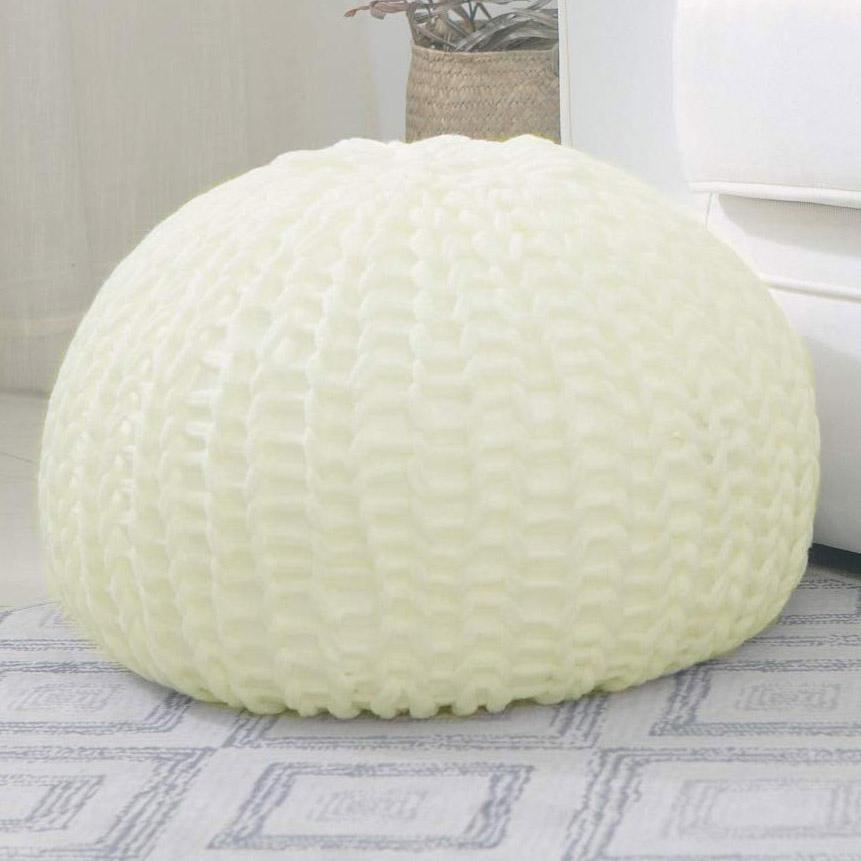 Ultra Plush Chunky Cable Knit Decorative Pouf-Ivory-Daily Steals