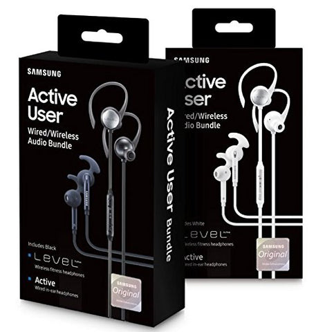Daily Steals-Samsung Active User Wired and Wireless Audio Bundle: Level Wireless and Active Wired-Headphones-Black-