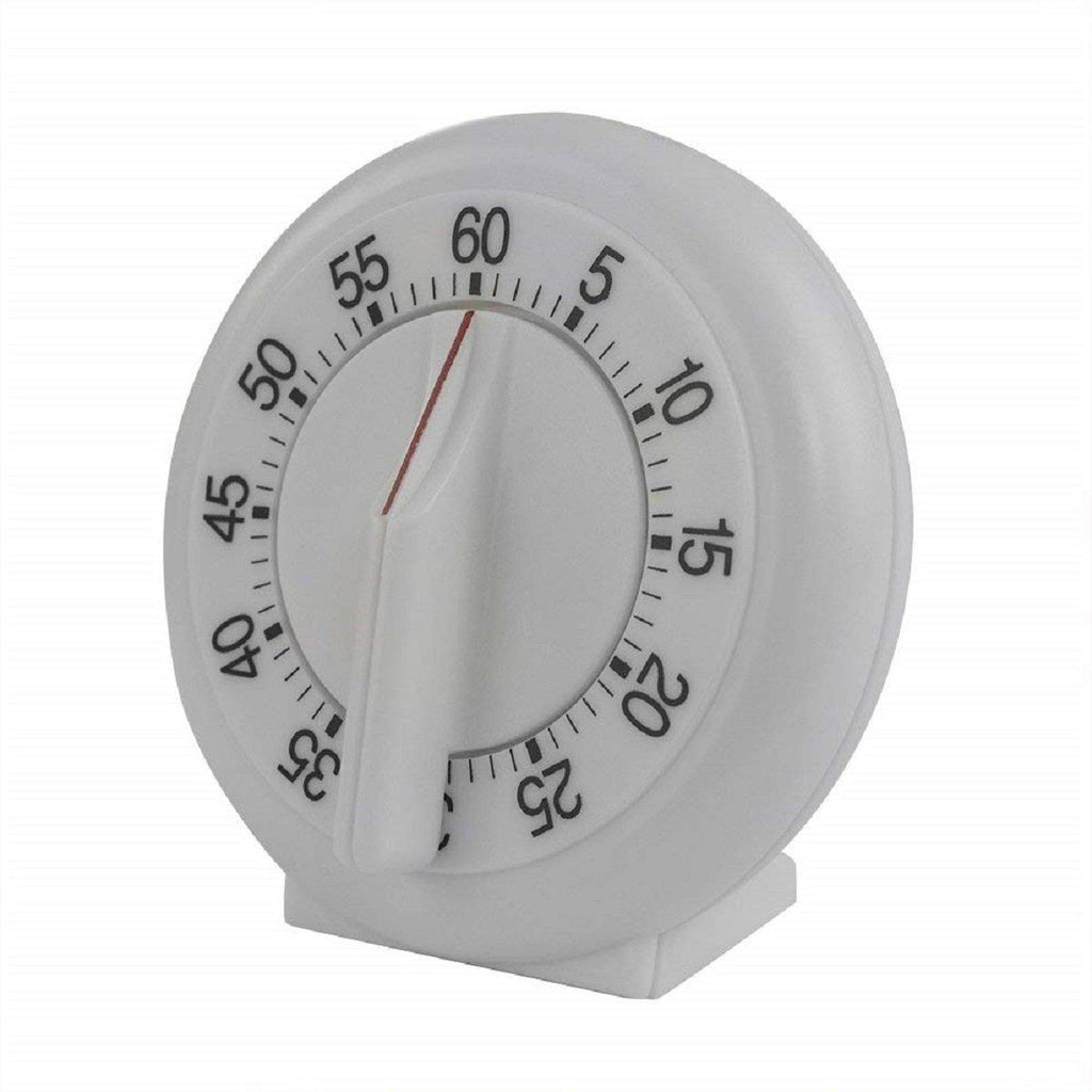 Stainless Steel Mechanical Kitchen Timer - 60 Minute, White-Daily Steals