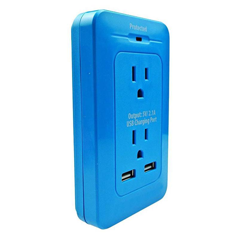 2 Outlet Surge Wall Tap with Dual Port USB-Blue-Daily Steals