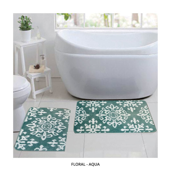 2-Piece Set: Bibb Home Plush Anti-Skid Super-Absorbent Microfiber Bath Rugs - Assorted Styles-Floral - Aqua-Daily Steals