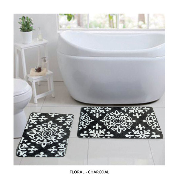 2-Piece Set: Bibb Home Plush Anti-Skid Super-Absorbent Microfiber Bath Rugs - Assorted Styles-Floral - Charcoal-Daily Steals