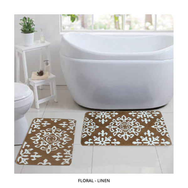 2-Piece Set: Bibb Home Plush Anti-Skid Super-Absorbent Microfiber Bath Rugs - Assorted Styles-Floral - Linen-Daily Steals