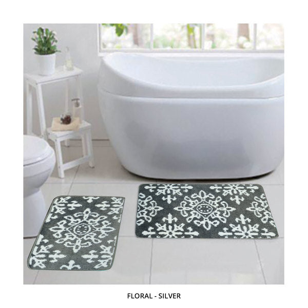 2-Piece Set: Bibb Home Plush Anti-Skid Super-Absorbent Microfiber Bath Rugs - Assorted Styles-Floral - Silver-Daily Steals