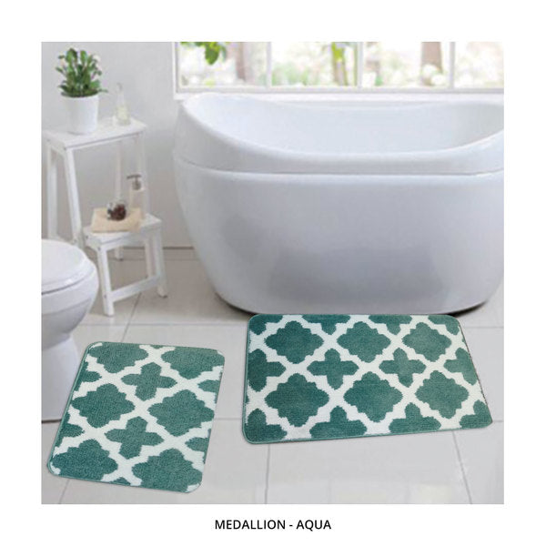 2-Piece Set: Bibb Home Plush Anti-Skid Super-Absorbent Microfiber Bath Rugs - Assorted Styles-Medallion - Aqua-Daily Steals