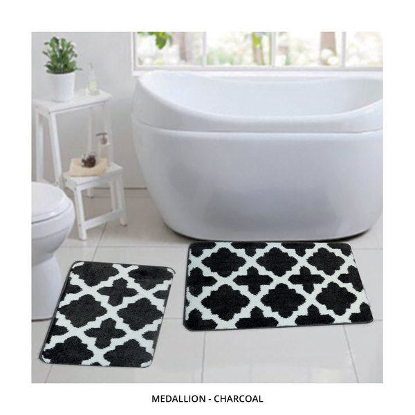 2-Piece Set: Bibb Home Plush Anti-Skid Super-Absorbent Microfiber Bath Rugs - Assorted Styles-Medallion - Charcoal-Daily Steals