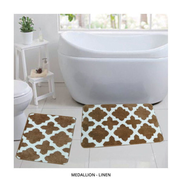 2-Piece Set: Bibb Home Plush Anti-Skid Super-Absorbent Microfiber Bath Rugs - Assorted Styles-Medallion - Linen-Daily Steals