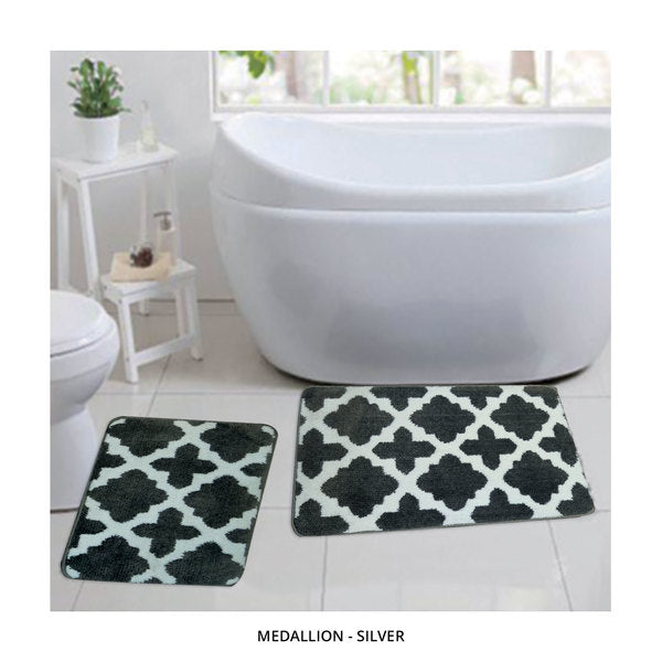 2-Piece Set: Bibb Home Plush Anti-Skid Super-Absorbent Microfiber Bath Rugs - Assorted Styles-Medallion - Silver-Daily Steals