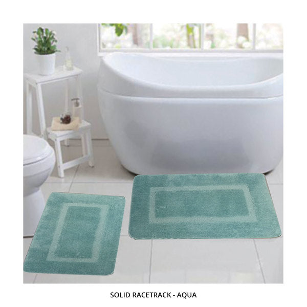 2-Piece Set: Bibb Home Plush Anti-Skid Super-Absorbent Microfiber Bath Rugs - Assorted Styles-Solid Racetrack - Aqua-Daily Steals