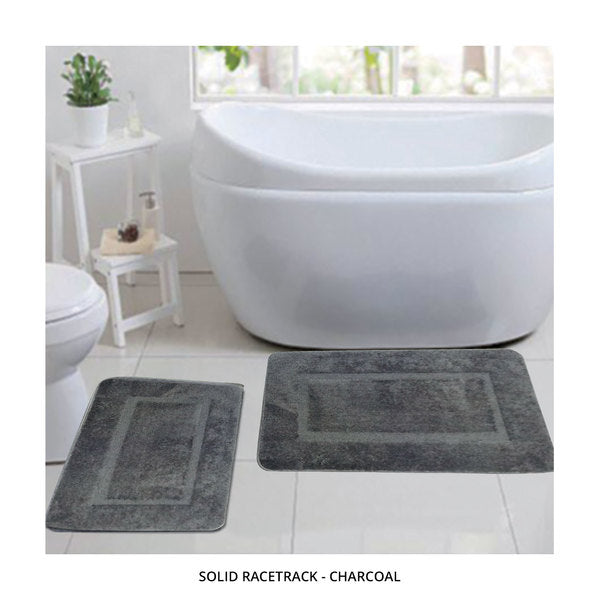 2-Piece Set: Bibb Home Plush Anti-Skid Super-Absorbent Microfiber Bath Rugs - Assorted Styles-Solid Racetrack - Charcoal-Daily Steals